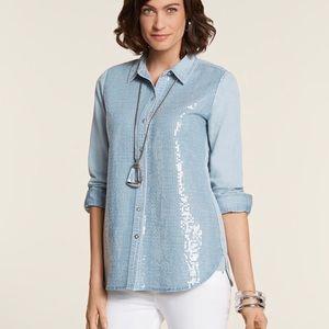 Chico's Tabitha II Chambray Sequin Shirt Size 1